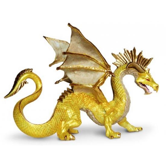 Plastic gouden draak 17 cm