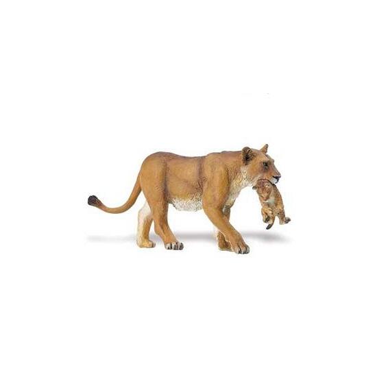 Plastic speelgoed leeuwin met welp 16 cm
