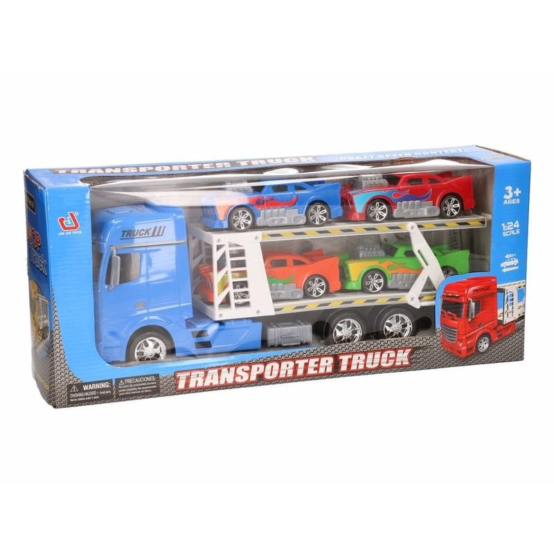 Vrachtauto blauw 44 cm met 4 autos