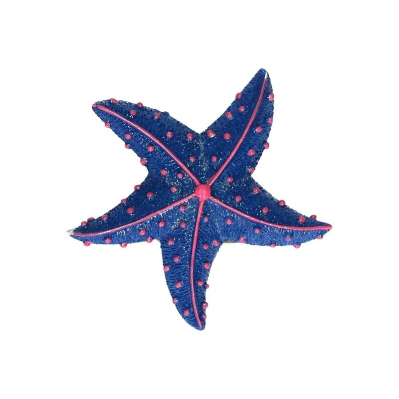 Zeester glitter magneet donkerblauw 7,5 cm