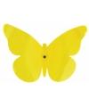 Decoratie muur vlinder geel 25 cm