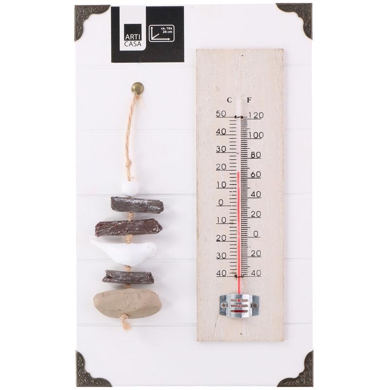 Buiten thermometer van hout 26 x 16 cm