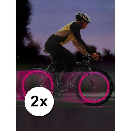 Fiets ventiel LED lampjes roze 2 stuks