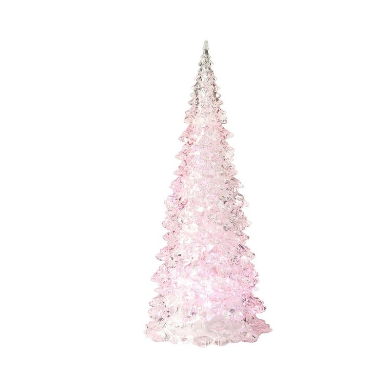 Kerstboom LED lamp kerst decoratie roze 10 x 22 cm