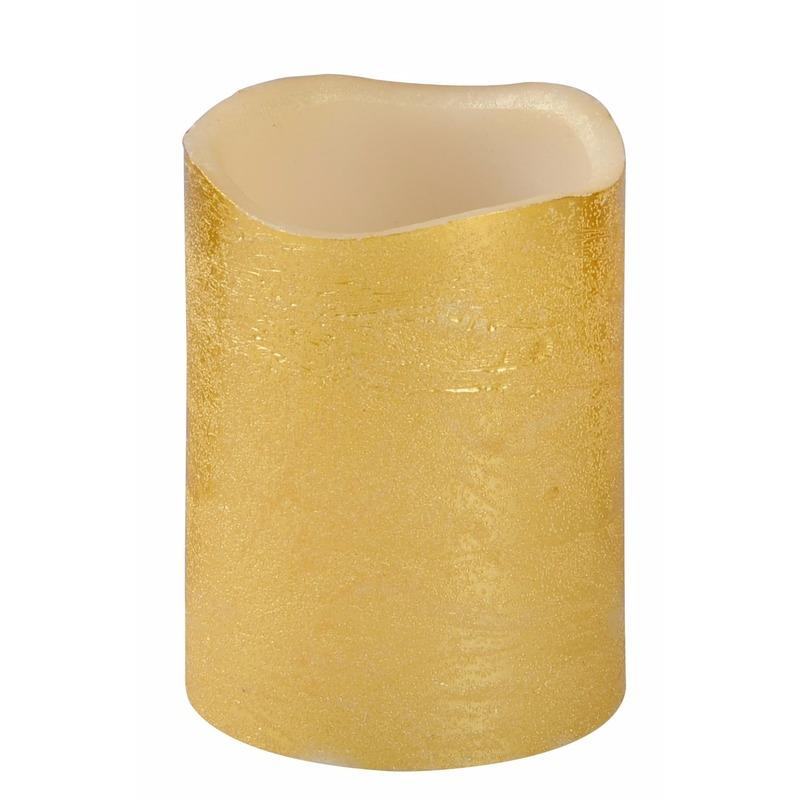 LED kaars-stompkaars goud 10 cm