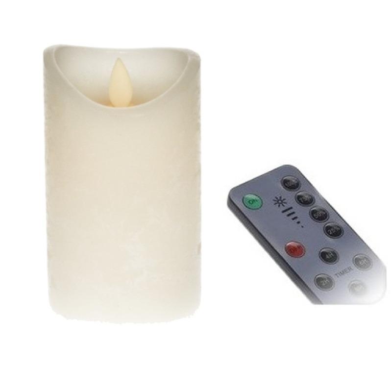 LED kaars-stompkaars ivoor 12 cm inclusief afstandsbediening