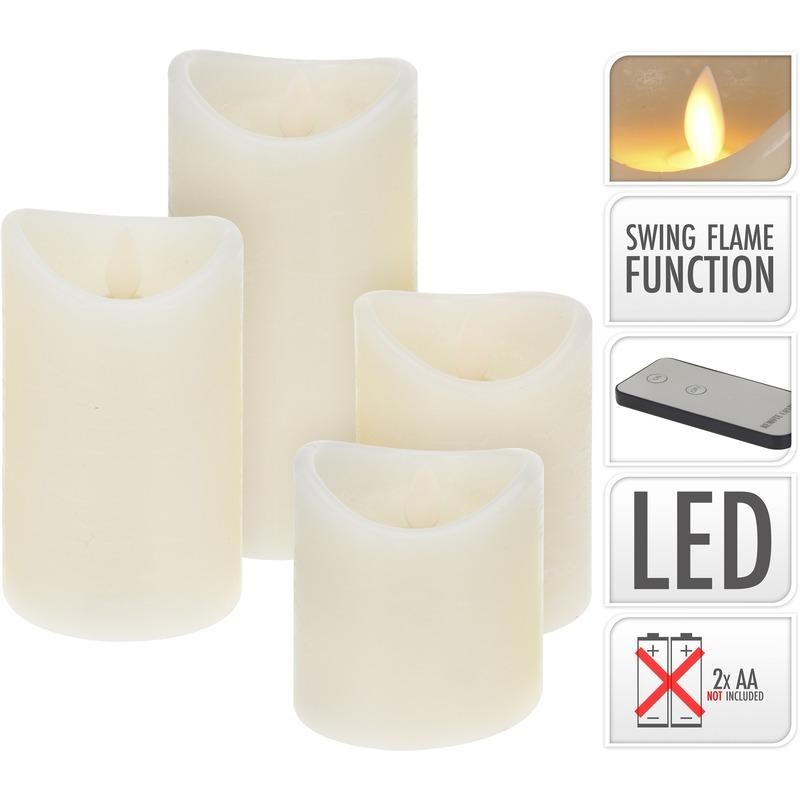 LED kaarsen set 4 stuks met dansvlam op afstandsbediening