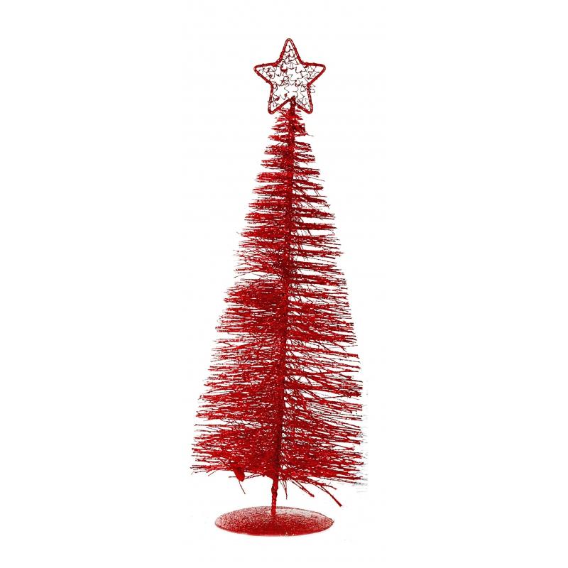 Rode deco kerstboom met ster 21 cm