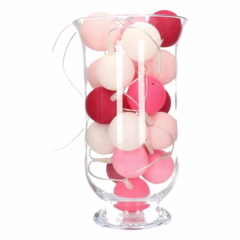 Sfeerverlichting roze balletjes in vaas