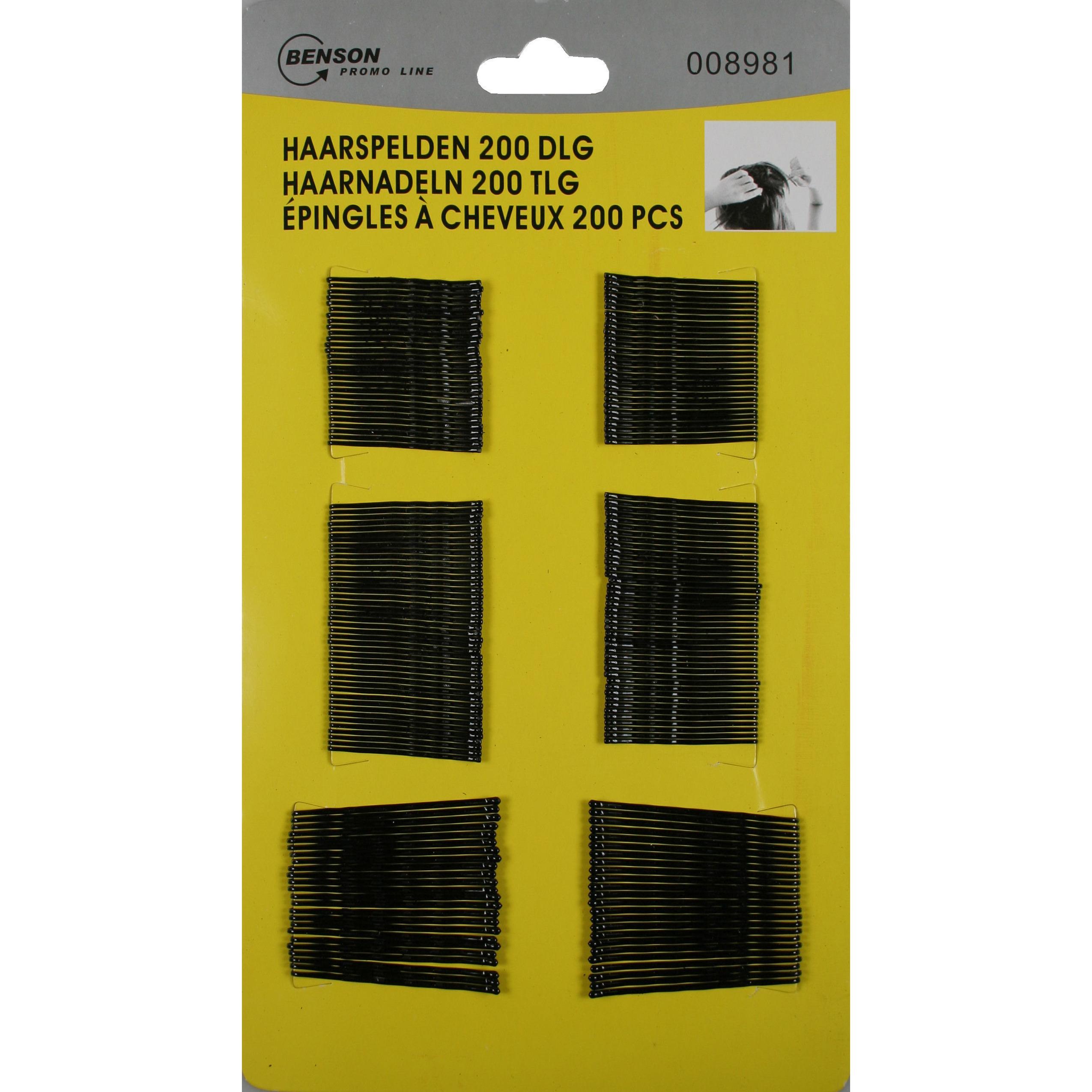 200x Haarspelden - schuifspelden metaal zwart golvend