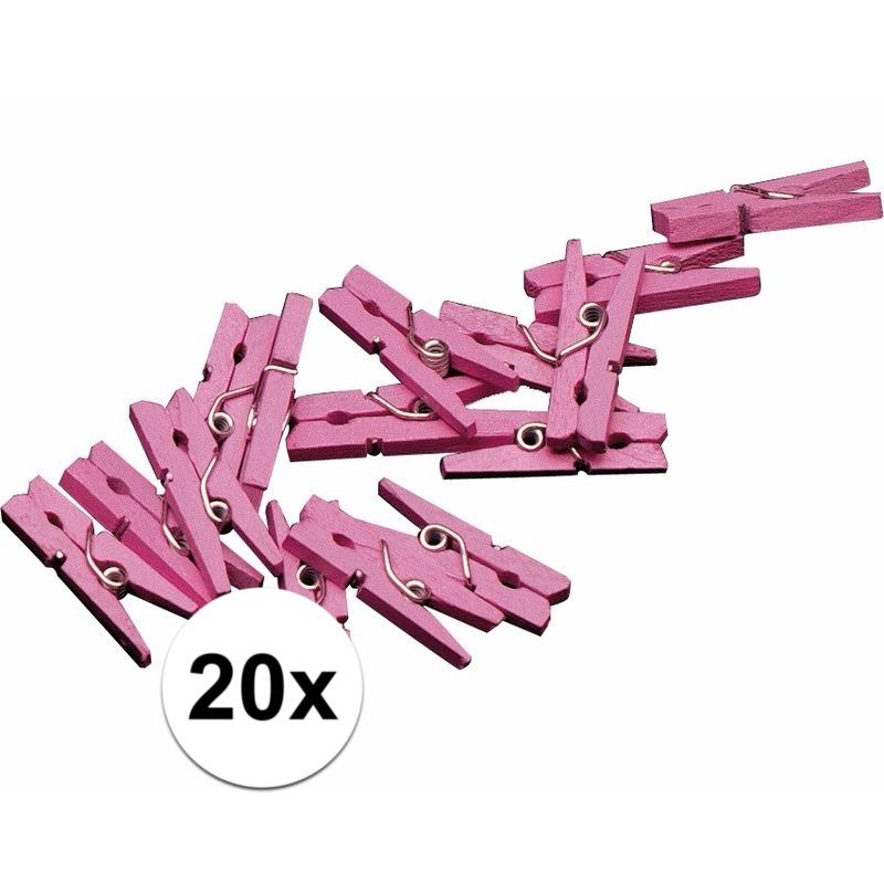 20x mini knijpertjes roze