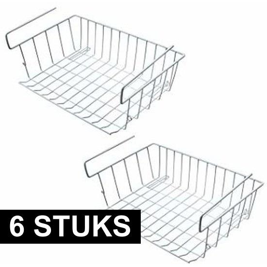 6x Kast opberg-opruim mandjes van staal 42 X 27 cm