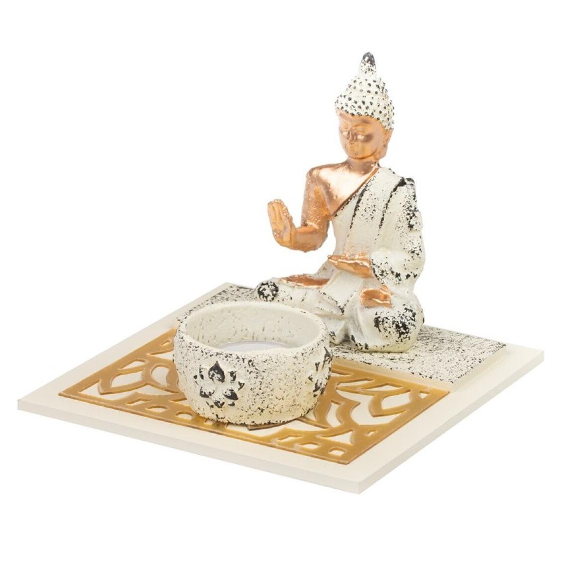 Boeddha beeld met waxinelichthouder voor binnen 14 cm
