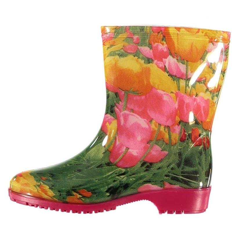 Halfhoge dames regenlaarzen tulpen print