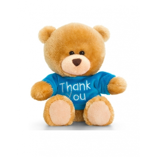Keel Toys pluche beer knuffel Thank You met blauw shirt 14 cm