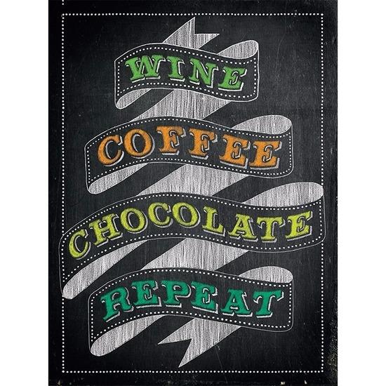 Retro muurplaatje Wine Coffee Chocolate Repeat 30 x 40 cm