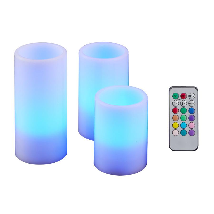 Set van 3x LED kaarsen color changing met afstandsbediening