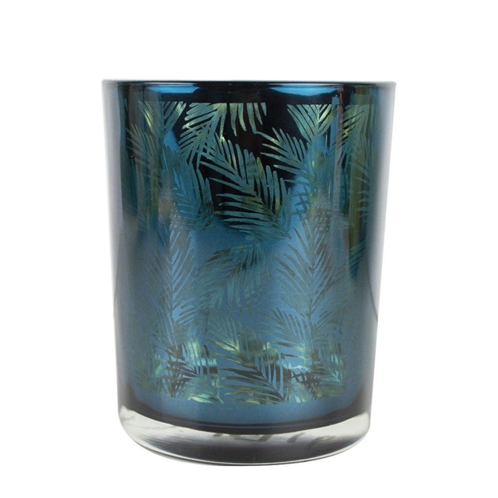 Theelichthouder-waxinelichthouder glas petrol blauw 12 cm palmblad print