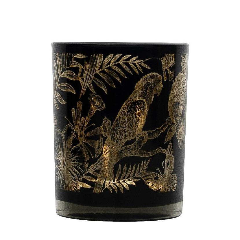 Theelichthouder-waxinelichthouder glas zwart 10 cm papegaai print