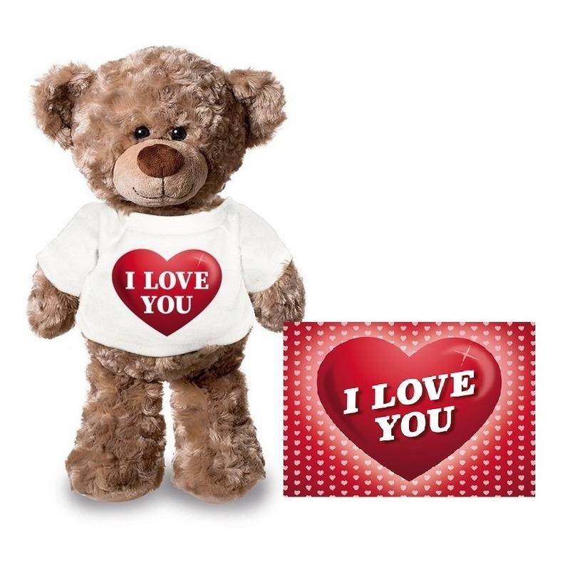 Valentijnskaart en knuffelbeer 24 cm met I love you hartje shirt