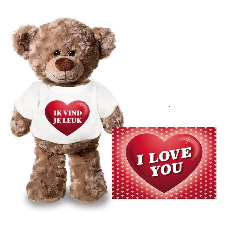 Valentijnskaart en knuffelbeer 24 cm met ik vind je leuk shirt