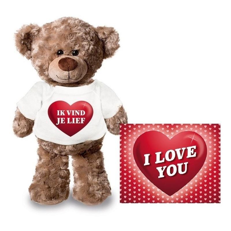 Valentijnskaart en knuffelbeer 24 cm met ik vind je lief shirt