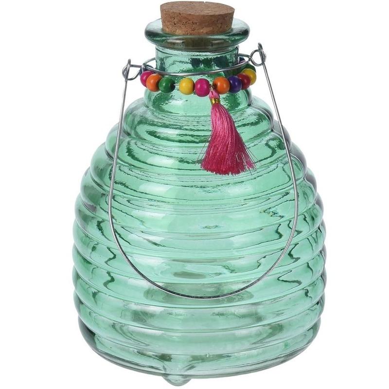 Wespenvanger van groen glas 18 cm