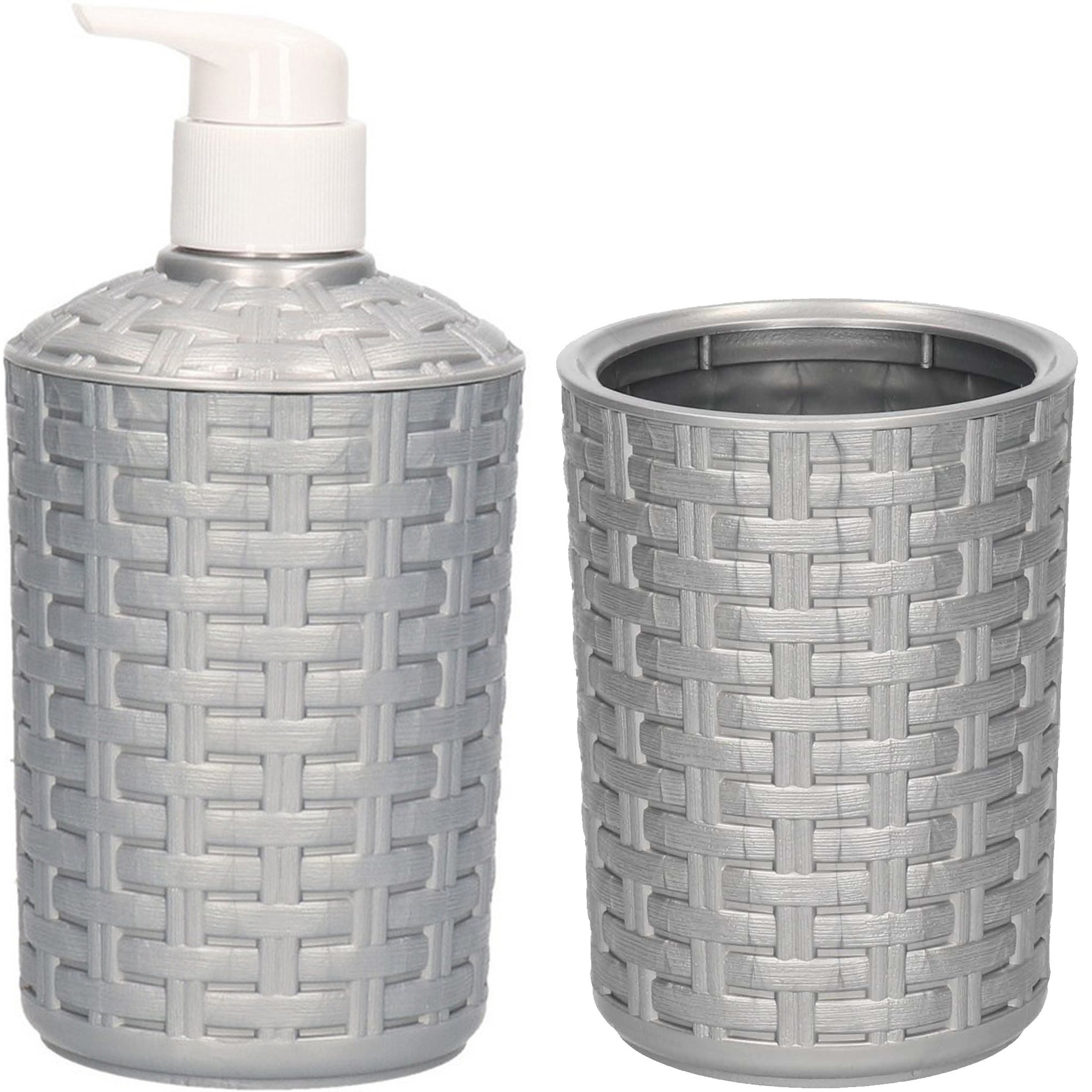 Zeep pompje-dispenser en tandenborstel-tandpasta houder set zilver