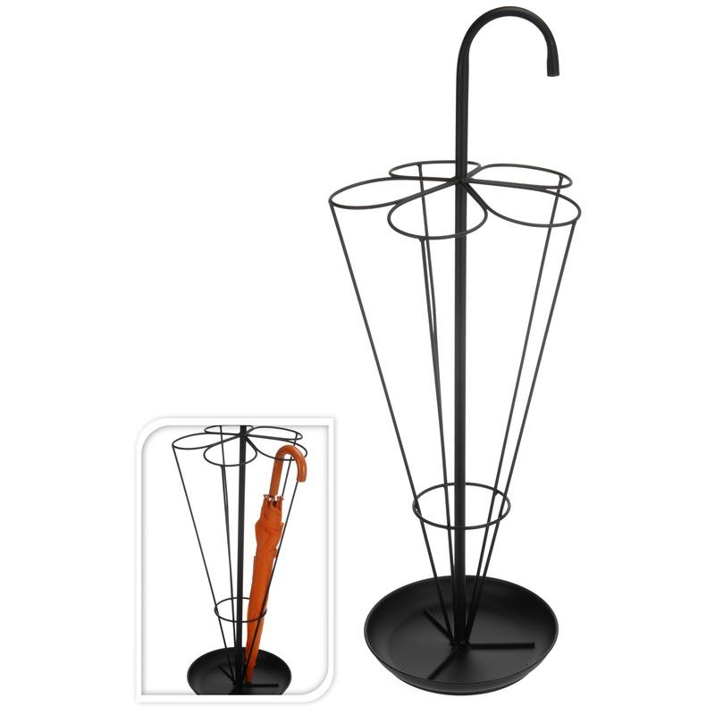 Zwarte parapluhouder/paraplu standaard met uitlekbakje 80 cm