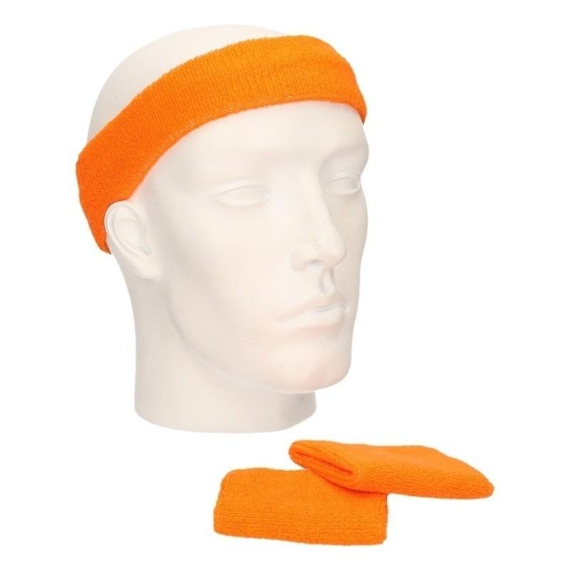Zweetbandjes sportset oranje